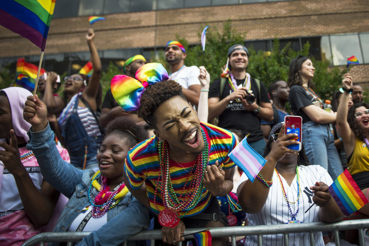 A crowd of people cheer on those participating in the 50th annual Pride parade in Washington on June 8, 2019.