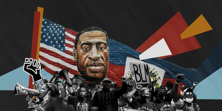 Photo illustration: Protestors in front of a mural of George Floyd .