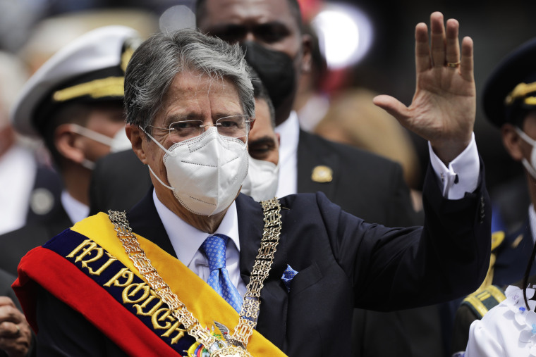 President Guillermo Lasso greets supporters as he leaves after his inauguration speech at Asamblea Nacional on May 24, 2021, in Quito, Ecuador.