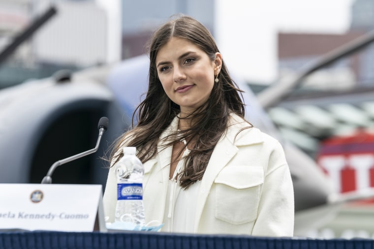 Michaela Kennedy-Cuomo attends Governor Cuomo's Covid-19 briefing on the Intrepid Sea, Air and Space Museum on May 25, 2020.