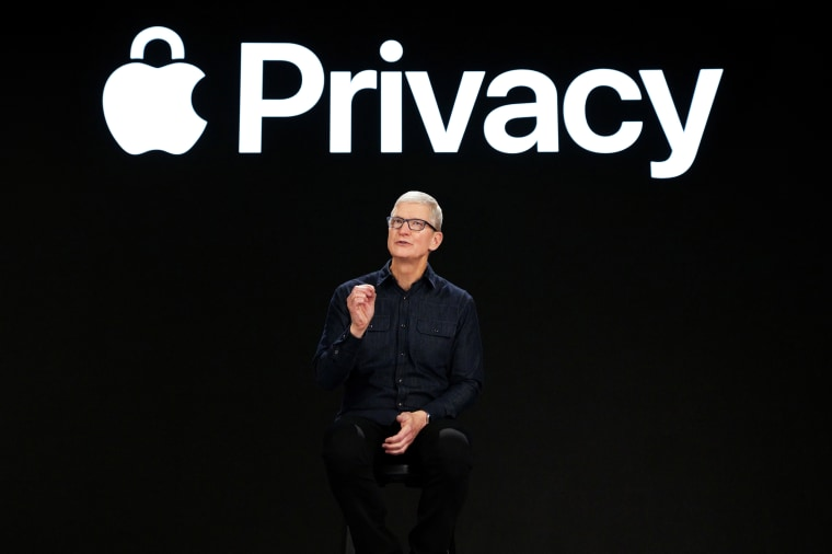 Apple CEO Tim Cook speaks about new privacy protections during Apple's Worldwide Developers Conference in Cupertino, Calif., on June 7, 2021.