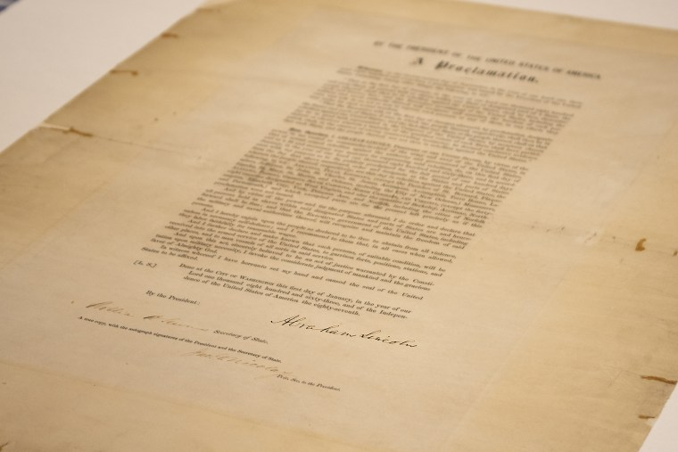 A signed copy of the Emancipation Proclamation at the Abraham Lincoln Presidential Library in Springfield, Ill., on June 8, 2021.
