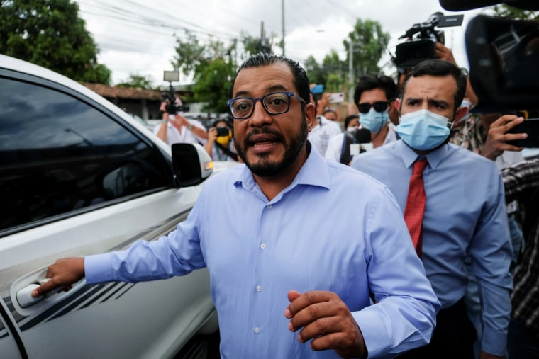 Felix Maradiaga, aspiring candidate of the opposition group National Blue and White Unity, leaves the Nicaragua Attorney General of the Republic office after being summoned by authorities in Managua, Nicaragua, on June 8, 2021.
