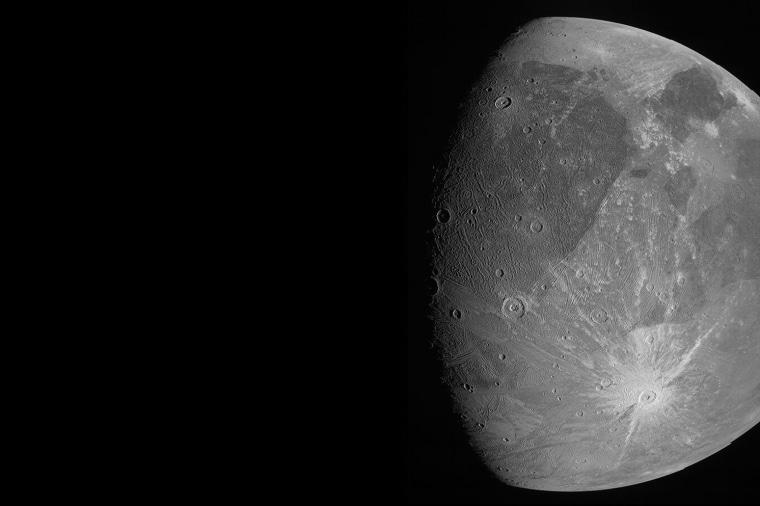 The Jovian moon Ganymede as the Juno spacecraft flies by on June 7, 2021.