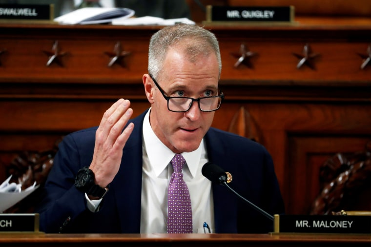 Rep. Sean Patrick Maloney, D-N.Y., questions witnesses during the impeachment hearing of then President Donald Trump on Nov. 19, 2019.