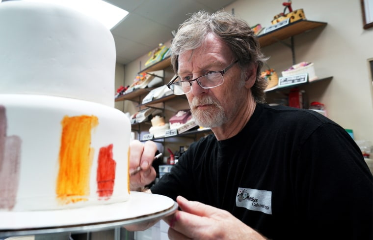 Baker Jack Phillips decorates a cake in his Masterpiece Cakeshop in Lakewood, Colo., on Sept. 21, 2017.