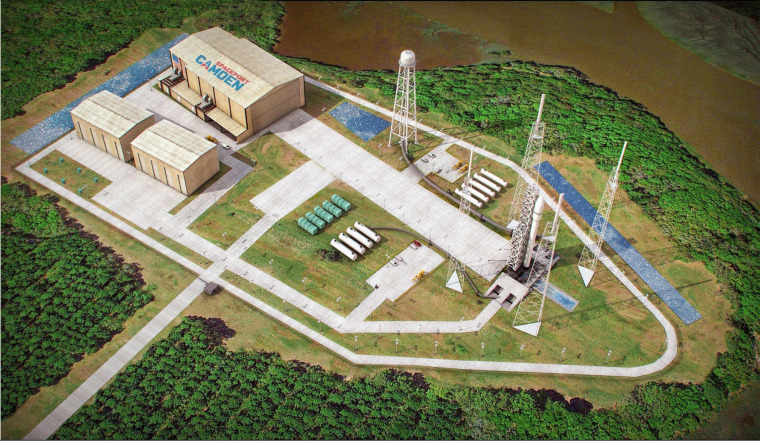 An artist's sketch shows the launch pad complex of the proposed Spaceport Camden in Camden County, Ga.