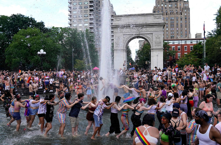 Image: People gather in Washington Square Park for the Queer Liberation March in New York City on June 27, 2021.