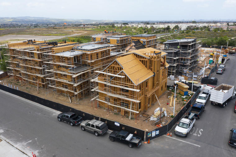 Single-family homes under construction in the Cadence Park development of The Great Park Neighborhoods in Irvine, Calif., on April 14, 2021.