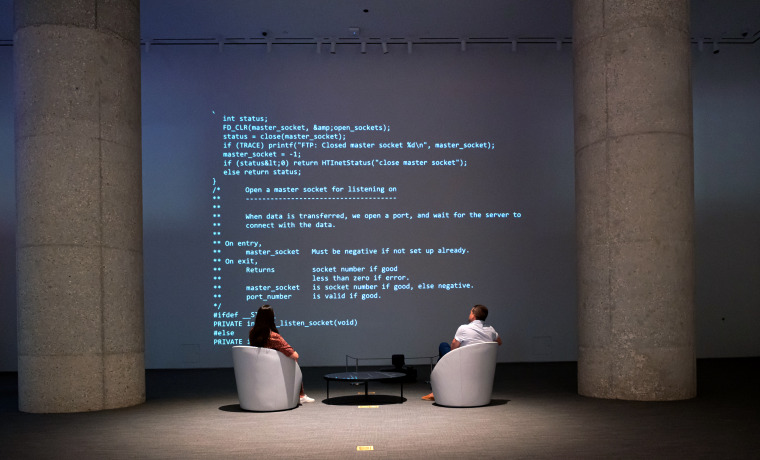 Sir Tim Berners-Lee auctions the source code for the World Wide Web as an NFT at Sotheby's on June 29, 2021 in New York.