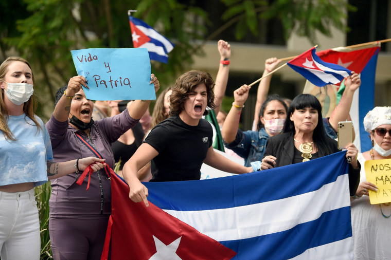Image: Cuban citizens during demonstration against Cuban President Miguel Diaz-Canel's government outside the Cuban Embassy, in Mexico City on July 12, 2021.