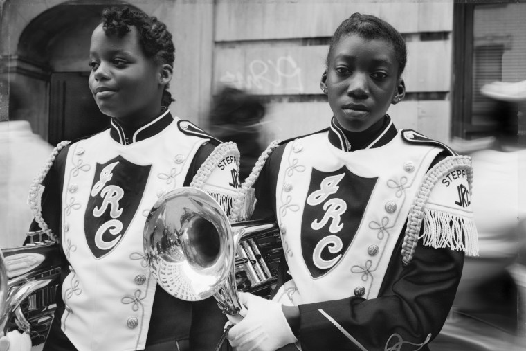Two girls from a marching band in Harlem, N.Y., in 1990.