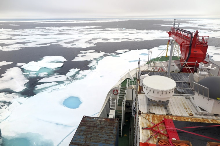 Sea ice on the Wandel Sea north of Greenland seen from the German icebreaker Polarstern, which passed through the area as part of the year-long MOSAiC Expedition, on Aug. 16, 2020.