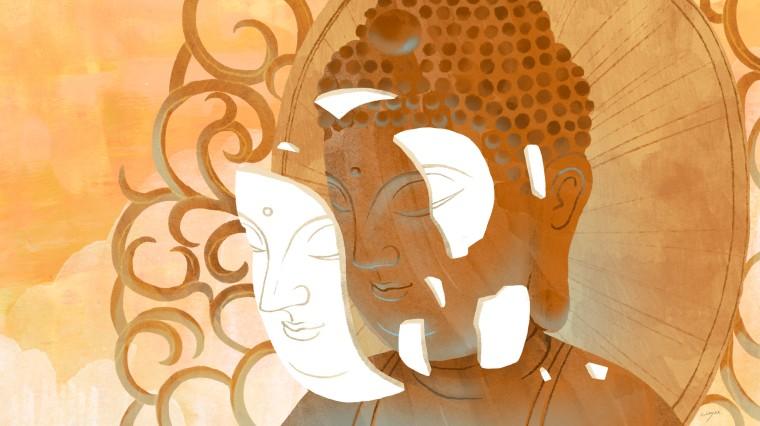 Illustration of white mask on Buddha statue breaking off.