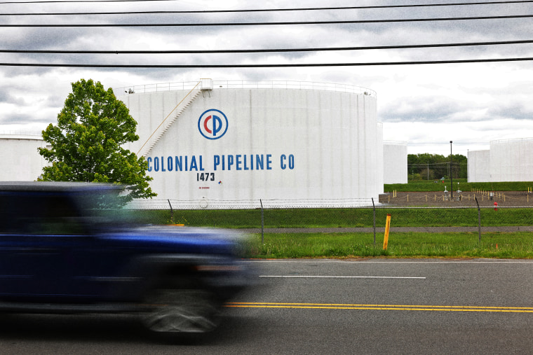Fuel holding tanks at Colonial Pipeline's Linden Junction Tank Farm on May 10, 2021 in Woodbridge, N.J.