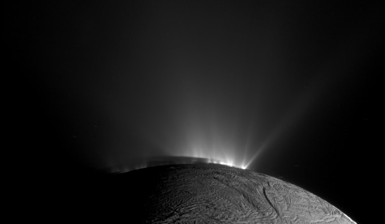 This Cassini narrow-angle camera image -- one of those acquired in the survey conducted by the Cassini imaging science team of the geyser basin at the south pole of Enceladus -- was taken as Cassini was looking across the moon's south pole on July 28, 2014.