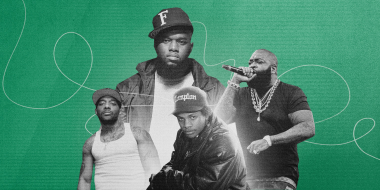 Illustration of rappers Freeway, Rick Ross, Eazy-E and Prodigy of Mobb Deep.