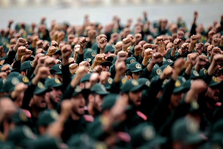 A 2019 graduation ceremony for Iran's Islamic Revolutionary Guard Corps cadets in Tehran, Iran.