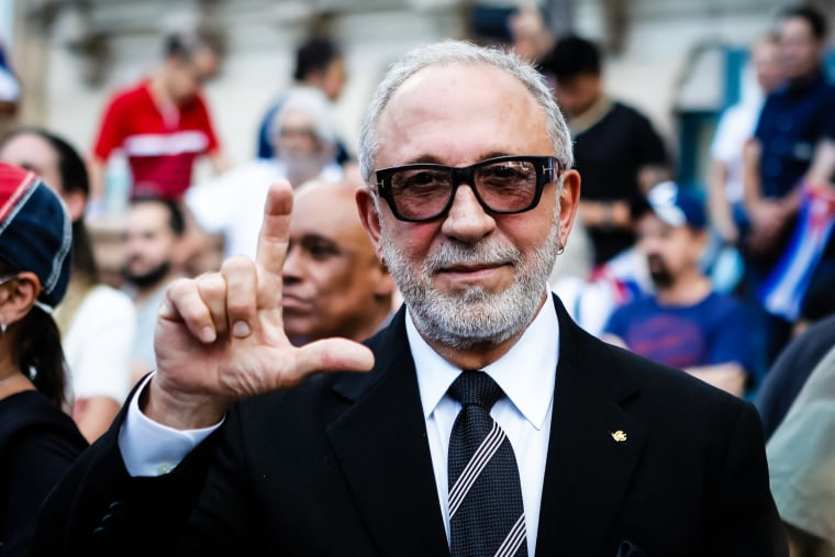 Cuban-American musician Emilio Estefan attends a Freedom Rally to show support for Cubans demonstrating against their government at Freedom Tower in Miami on July 17, 2021.