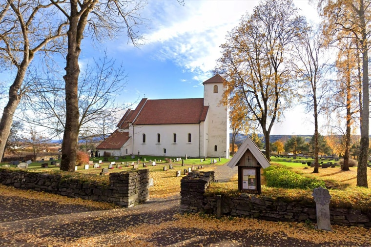 The medieval Hoff church north of the Norwegian capital, Oslo.