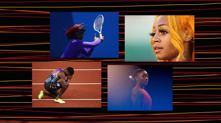 Image: Naomi Osaka, Sha'Carri Richardson, Noah Lyles and Simone Biles.