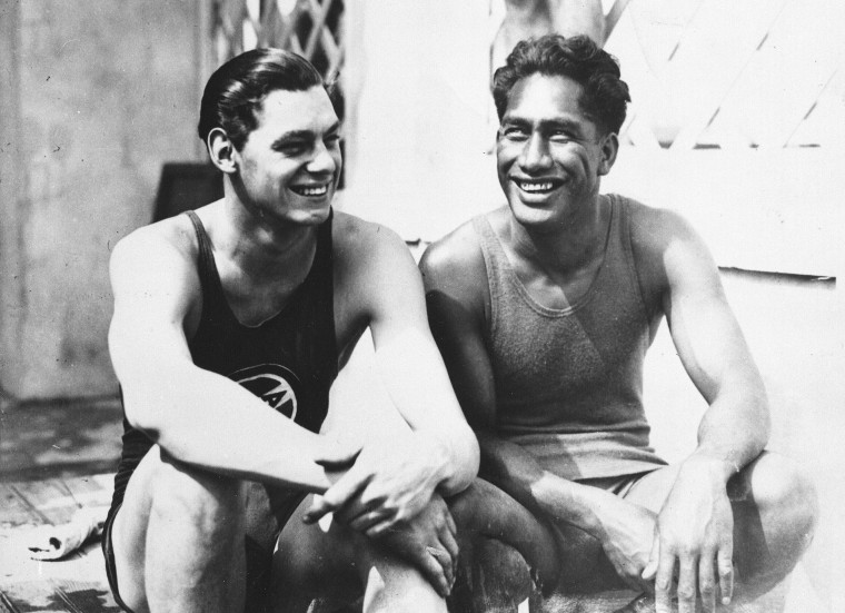 Image: Johnny Weissmuller and Duke Kahanamoku at the 1924 Olympic games in Paris.