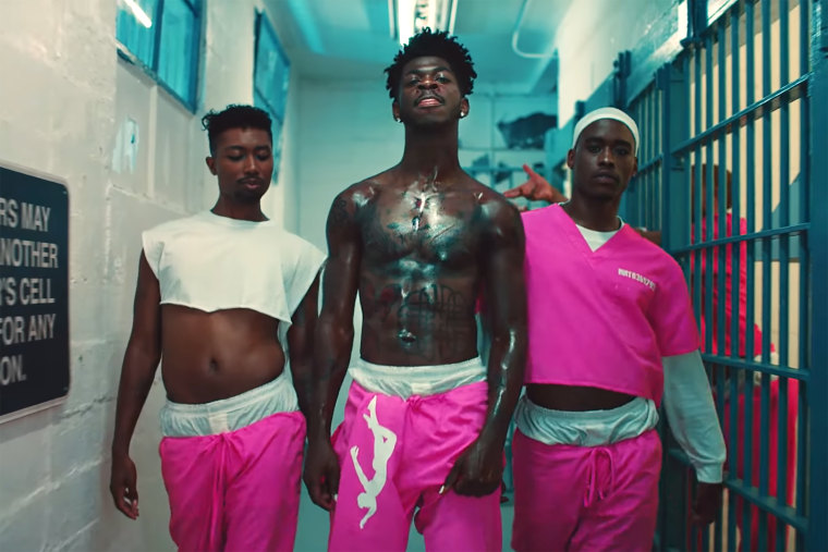 """From center, Lil Nas X performs in his """"Industry Baby"""" video."""