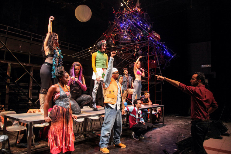 """Andy Senor Jr. directs the cast of RENT in Cuba in a scene from """"Revolution Rent."""""""