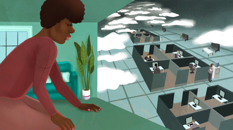 Illustration of Black woman in her apartment looking at stormy-looking office.