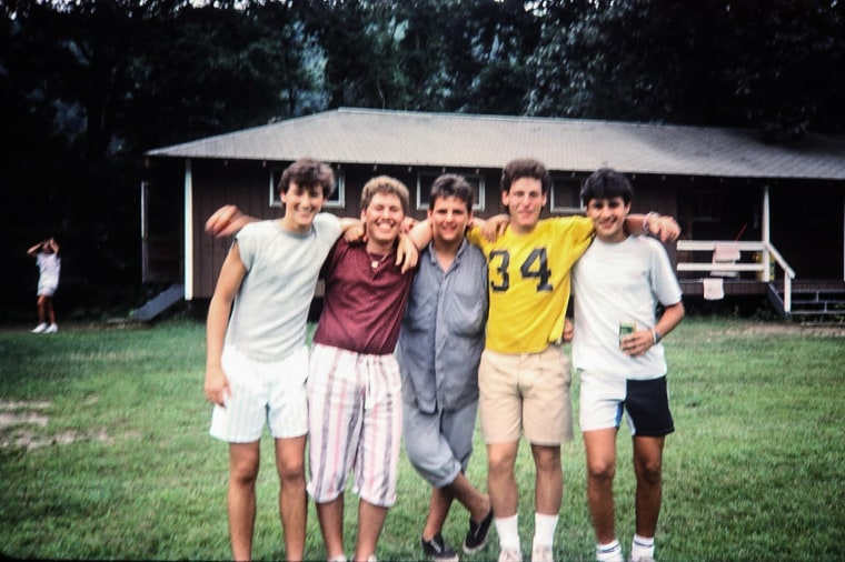 Richard Kleiman, second from left, with his friend Jay Kleiman, second from right, at Camp Tel Yehudah in Barryville, New York in the early 80s. Jay died in the Surfside condo collapse.