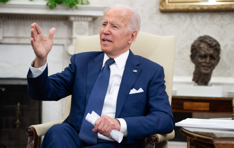 President Joe Biden speaks during a meeting with Iraqi Prime Minister Mustafa Al-Kadhimi in the Oval Office of the White House on July 26, 2021.
