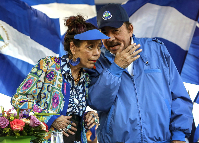 Nicaragua's President Daniel Ortega and his wife and Vice President Rosario Murillo, lead a rally in Managua, Nicaragua on Sept. 5, 2018.