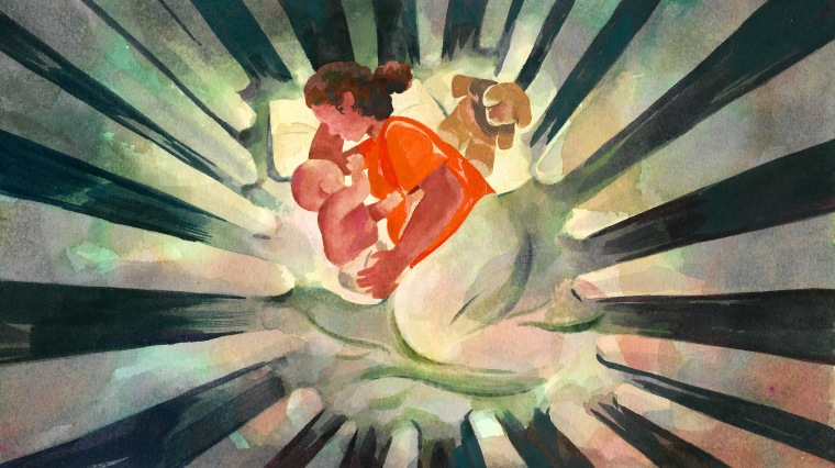 Illustration of a mother in a prison jumpsuit laying with her baby in a crib made of prison bars.