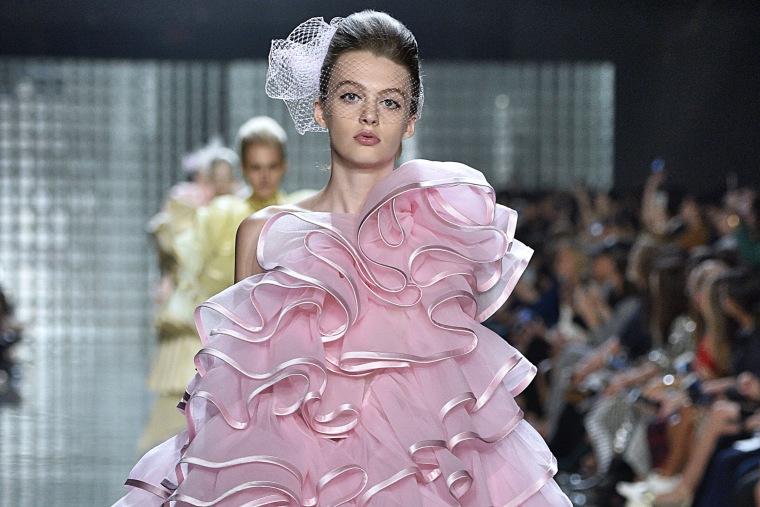 Model Ariel Nicholson walks the runway in New York in 2018.