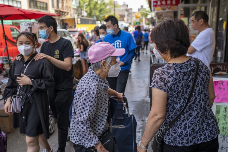 Shoppers in New York's Chinatown on June 25, 2021.