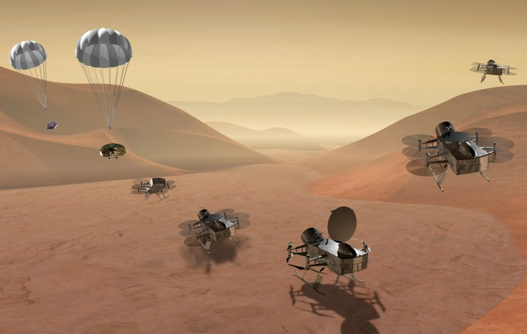 Dragonfly mission concept of entry, descent, landing, surface operations, and flight at Titan.