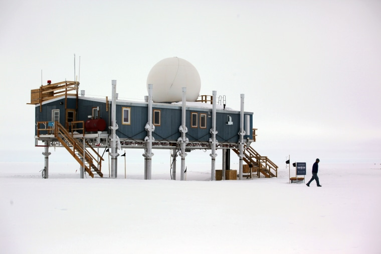 The main building at Summit Station, a remote research site 10,500 feet above sea level, on top of the Greenland ice sheet.