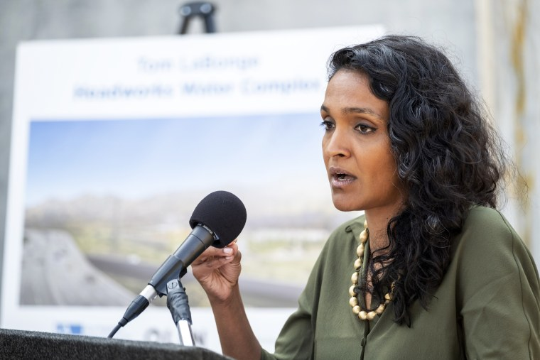 Councilmember Nithya Raman speaks in Los Angeles on July 14, 2021.