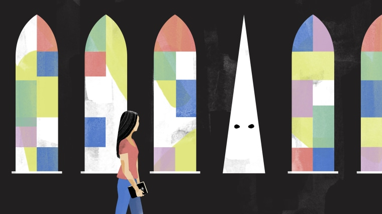 Illustration of an Asian American woman walking past stained glass church windows. One window is in the shape of a Ku Klux Klan-style white hood.