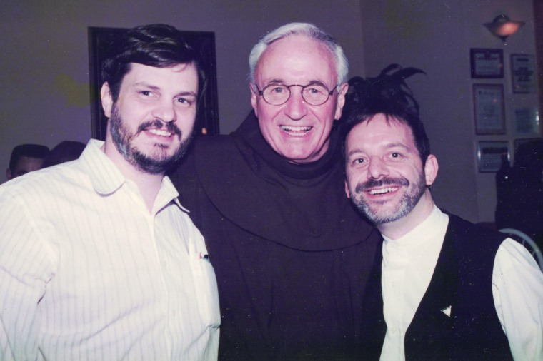 Tom Moulton, the Rev. Mychal Judge and Brendan Fay on May 11, 1998, at Il Campanello restaurant in New York, N.Y.
