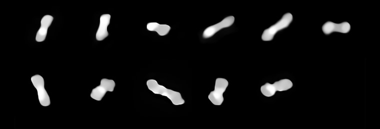 Images of the asteroid Kleopatra, viewed at different angles as it rotates.