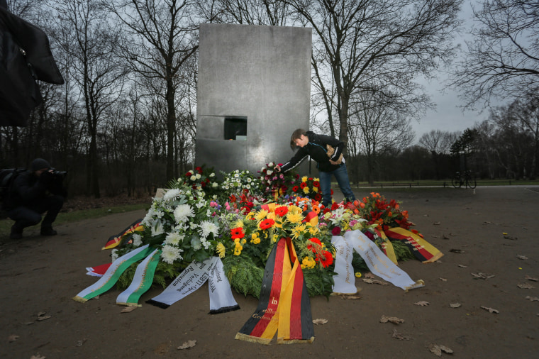 Mourners lay wreaths in Berlin in 2016 at a memorial to homosexuals persecuted by the Nazis.