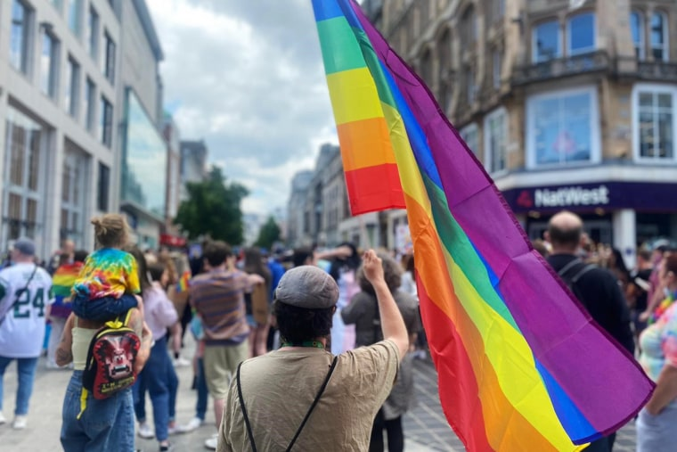 Image: The LGBTQ community organized a rally with the help of people who work in nearby bars and several organizations after three men were assaulted and subjected to homophobic abuse near a pub  in in Liverpool, England, in June 2021.