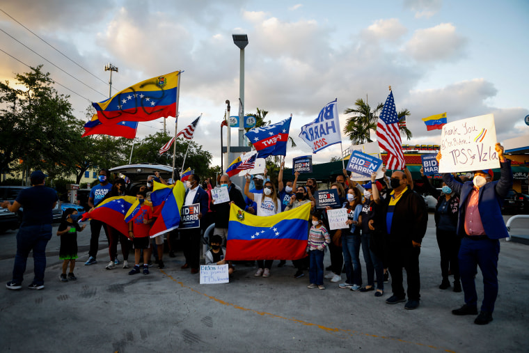 Image: Venezuelans gather to celebrate the granting of temporary protected status by President Biden in Miami on March 9, 2021.