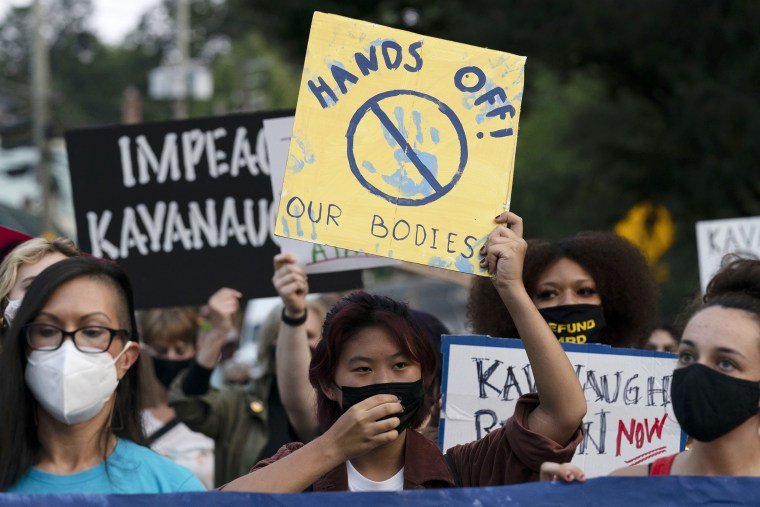 Image: Abortion rights demonstrators march to the Supreme Court Justice Brett Kavanaugh's home in Chevy Chase, Md., on Sept. 13, 2021.