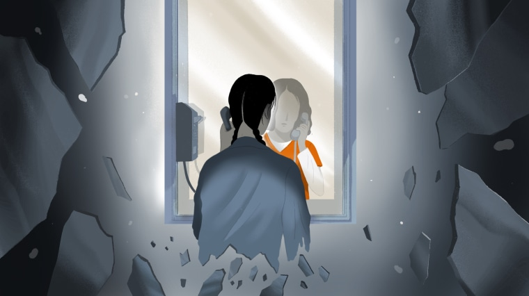 Illustration of an incarcerated woman speaking to another woman during a visit at a prison. The visitor is breaking into shards.