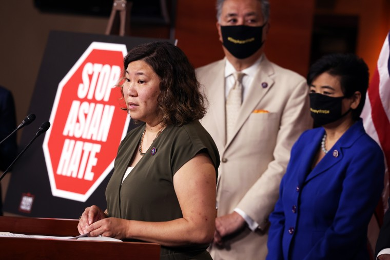 Rep. Grace Meng, D-N.Y., speaks alongside fellow lawmakers about the Covid-19 Hate Crimes Act at the Capitol on May 18, 2021.