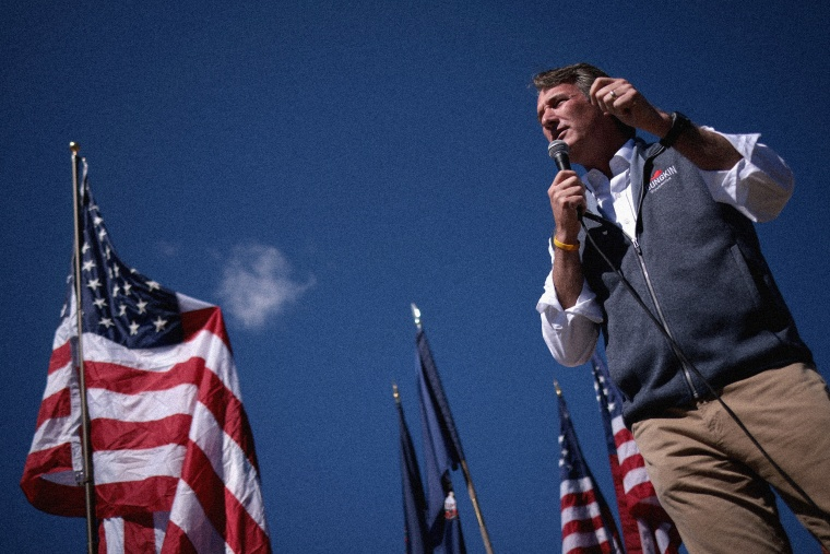 IMage: Republican Virginia gubernatorial candidate Glenn Youngkin speaks at a rally in Harrisonburg on Sept. 24, 2021.