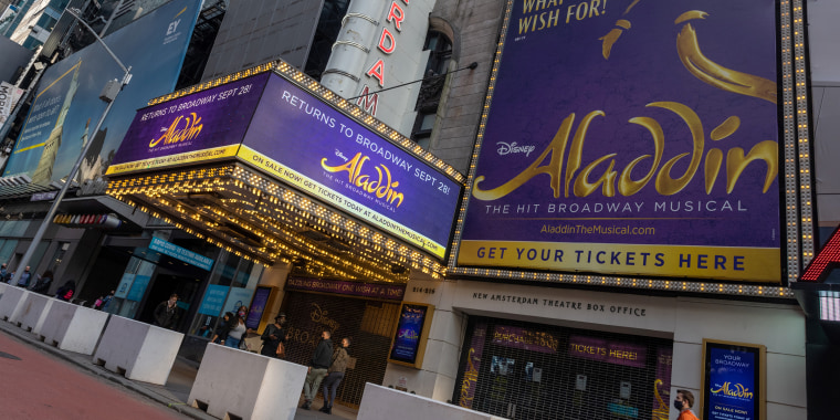 The Aladdin marquee at the New Amsterdam Theatre in Times Square on May 11, 2021, in New York City.