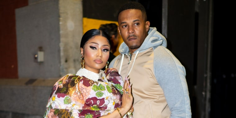 Nicki Minaj and Kenneth Petty arrive at the Marc Jacobs fashion show at the Park Avenue Armory on Feb. 12, 2020 in New York City.